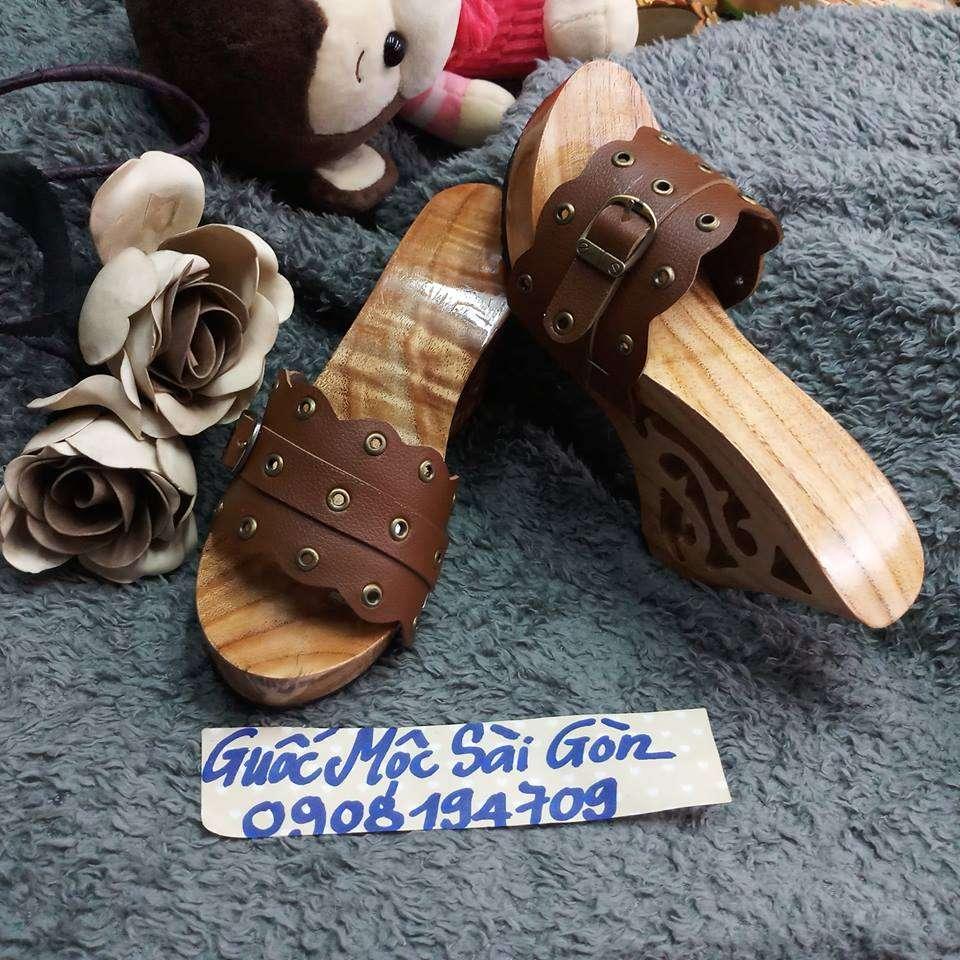 guốc gỗ quai màu tràm 5