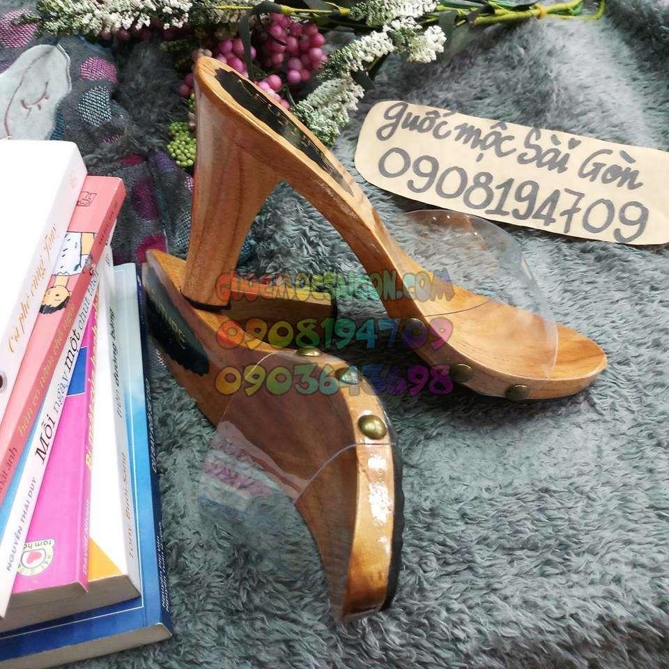 guốc cao gót gỗ thông
